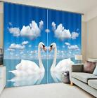 3D Sunny Sea Swan Blockout Photo Curtain Printing Curtains Drapes Fabric Window
