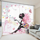 3D Butterfly Girl Blockout Photo Curtain Printing Curtains Drapes Fabric Window