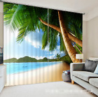 3D Trees Beach Blockout Photo Curtain Printing Curtains Drapes Fabric Window AU