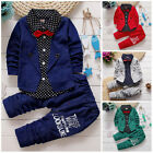 2pcs Kids Baby clothes baby boys clothes cotton top+pants suit outfits gentleman