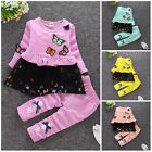 2pcs Kids Baby clothes baby girls clothes cotton outfits top pants butterfly