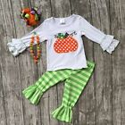 Girls Halloween Fall Pumpkin Outfit Orange Green Stripes Necklace and Bow 12M-8