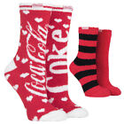 Coca Cola - 2 Pack Ladies Spotty and Striped Red Warm Soft Fluffy Cosy Bed Socks $17.99  on eBay