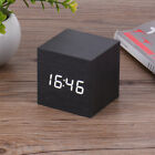 New Wood Wooden Cube Square LED Digital Alarm Desk Clock Thermometer