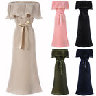 Womens Pleated Formal Gown Evening Party Wedding Cocktail Bridesmaid Maxi Dress