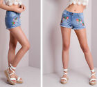 Womens Floral Embroidered Denim Shorts Festival Shorts Summer Hotpants Pants