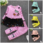 2pcs Kids Baby clothes baby girls clothes cotton outfits top+pants butterfly