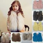 New Girls Kids Faux Fur Vest Waistcoat Baby Girl Warm Winter Coat Outwear Jacket