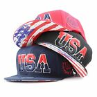 "The Hat Depot ""USA"" 3D Embroidered Flat Bill Snapback Hat"