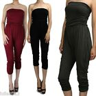 IUILE Womens Solid Basic Stretch Jersey Tube Top Harlem Capri Jumpsuit S ~ 3XL