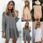 UK Womens Long Sleeve Swing Cotton Loose Ladies Long Tops Casual Paty Mini Dress