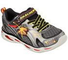 New Boys Youth Skechers S Lights Ipox Rayz Shoes Style 90386L Gunmetal/Red 113p