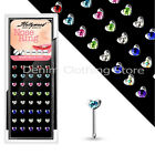 4pcs Heart Nose Ring Mixed Colors Sterling Silver Studs Bone body jewelry 20g