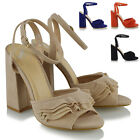 New Womens High Heel Ruffle Sandals Ladies Ankle Strap Frill Party Shoes Size