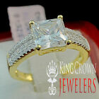 Womens Ladies Yellow Gold Finish Bridal Ring Solitaire Diamond  Pure 925 Silver