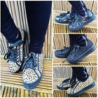 Womens Ladies Platform Floral Lace Up Summer Trainers Creepers Shoes UK Size 3-8