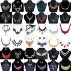 Womens Crystal Flower Necklace Bib Choker Chunky Statement Pendant Chain Jewelry