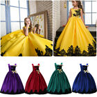 Kids Flower Long Formal Dress For Girls Wedding Bridesmaid Pageant Party Gown