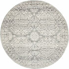 NEW Oxus Silver & Grey Power Loomed Modern Round Rug Network Rugs