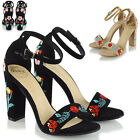 Womens Ankle Strap Floral Embroidered Sandals Block Heel Ladies Party Shoes Size