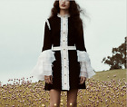 Occident autumn blackwhite color matching horn sleeve falbala fashion dress SML