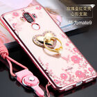 Bling Metal Holder Slim Soft Rose Bumper Clear Back Stand Case Cover For Huawei