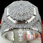 Mens Real Sterling Silver White Gold Lab Diamond 3D Pave Pinky Engagement Ring