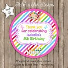 PAINTING PARTY RAINBOW PERSONALISED ROUND CIRCLE GLOSS PARTY STICKERS X 12
