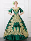 Green Vintage Victorian Costume Ruffles tunic Retro Fantastic Ball Gown Dress