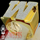 Mens Big Bold 10K Yellow Gold On Real Silver Initial Letter W Simu Diamond Ring