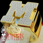Mens Big Bold 10K Yellow Gold On Real Silver Initial Letter M Simu Diamond Ring