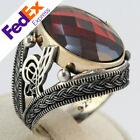 TURKISH Ottoman Turgra 925 Sterling Silver Ruby Men's Luxury Ring Gift for Him