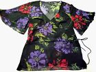 1pc New Ladies Sheer Chiffon Floral Blouse Top Cape Sleeve Sz L F222