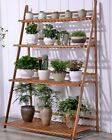 BAMBOO SHELF FOLDING MULTI TIER LADDER BOOK PLANT SHELF MULTI USE STRONG ELEGANT