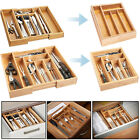 BAMBOO EXPANDABLE KITCHEN CUTLERY WOODEN TRAY HOLDER DRAWER STORAGE ORGANIZER