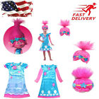 Kids Trolls Costume Little Girl Princess Poppy Cosplay Outfit Dress Halloween US image