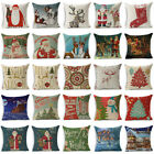 "18"" Xmas Christmas Throw Pillow Case Cotton Linen Sofa Cushion Cover Home Decor image"