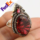 Turkish Roxelana Hurrem Sultan Jewelry 925 Sterling Silver Ruby Lady Luxury Ring
