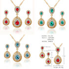 Fashion Women Gold Plated Bridal Wedding Crystal Jewelry Necklace Earrings Set
