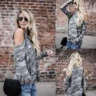 New Fashion Women Casual O-Neck Long Sleeve Cold the Shoulder Camouflage TXSU
