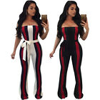 New Design Striped Print Women Strapless Rompers Summer Jumpsuits Hot Bodysuits