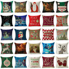 Xmas Christmas Pillow Case Cotton Linen Throw Sofa Cushion Cover Home Decor Gift image
