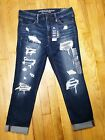 American Eagle Jegging Crop Jeans Distressed Super Stretch Dark Wash NWT New