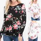 UK Plus Size Womens Floral Print Long Sleeve Ladies Casual Tops T-Shirt Blouse