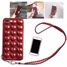Phone Case for iphone 3D Heart Metallic Cover with Neck Rope Waterproof EB1