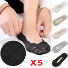 Womens Ladies Skin Shoe Liners Footsies Invisible Thin Lace Socks 5Pairs EB1
