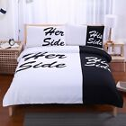 His Side Her Side Duvet Cover Bedding Set Couple Quilt Cover Pillowcase 3-Piece
