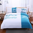 His Side Her Side Duvet/Quilt Cover Bedding Set Pillowcase White & Blue 3-Piece