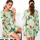 UK Boho Womens Floral Holiday Long Sleeve Ladies Beach Casual Party Short Dress