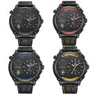 WEIDE Men's Outdoor Multi Time Zone Oversized Case Black Leather Band Wristwatch